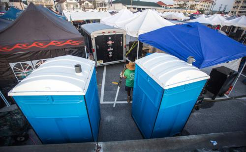 Portable Toilets at a BBQ Competition